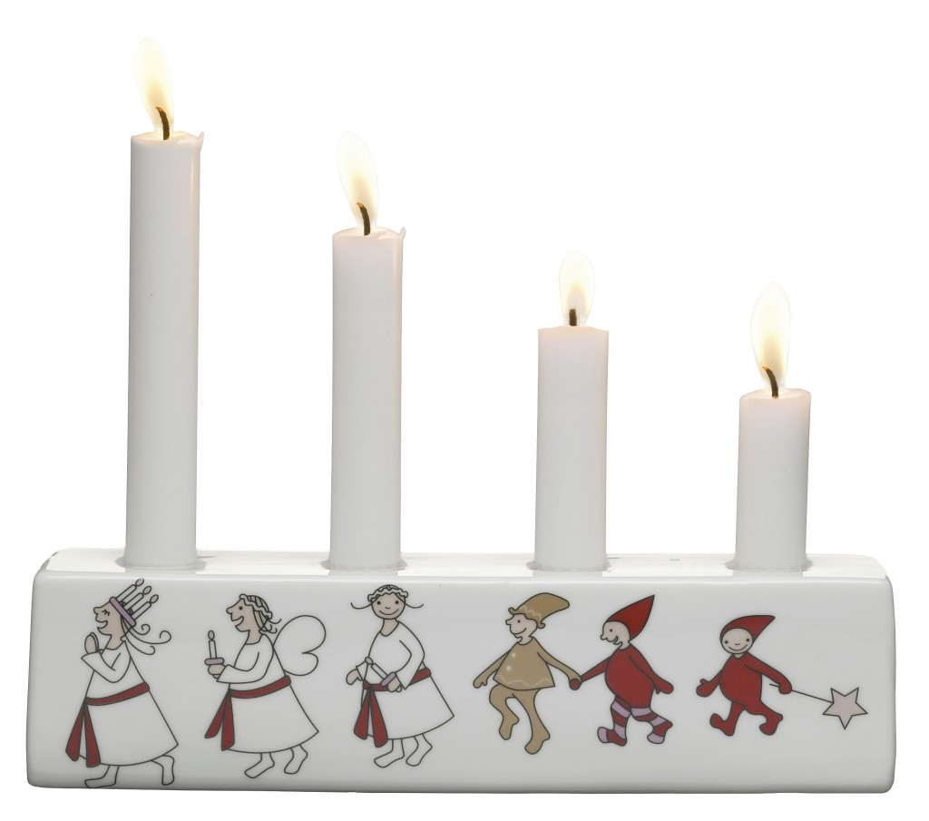 Christmas design for Lucia advent candle holder for Mique of Sweden