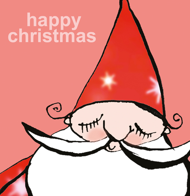 Christmas card design of Santa for Paperchase