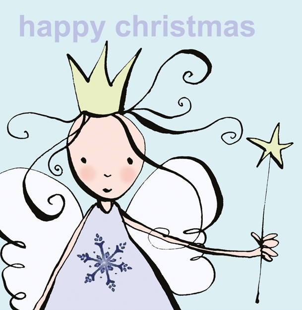 Christmas card design of angel for Paperchase