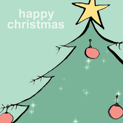 Christmas card design of Christmas tree for Paperchase