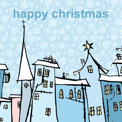 Christmas card design of houses and snowflakes for Paperchase