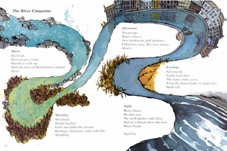 Children's book illustration The River Cinquains for Oxford University Press