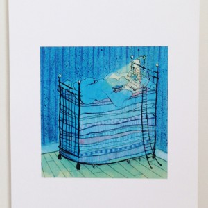 Girl on bed print